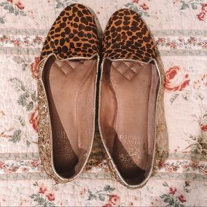 Vince Camuto Glitter and Giraffe Print Loafers